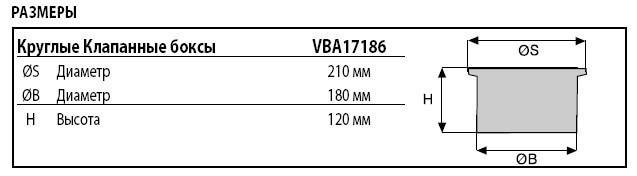 Размеры бокса со втсроенным краном Rain Bird VBA17186