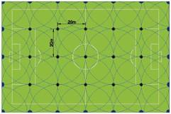 Схема полива футбольного поля роторными оросителями Rain Bird 8005